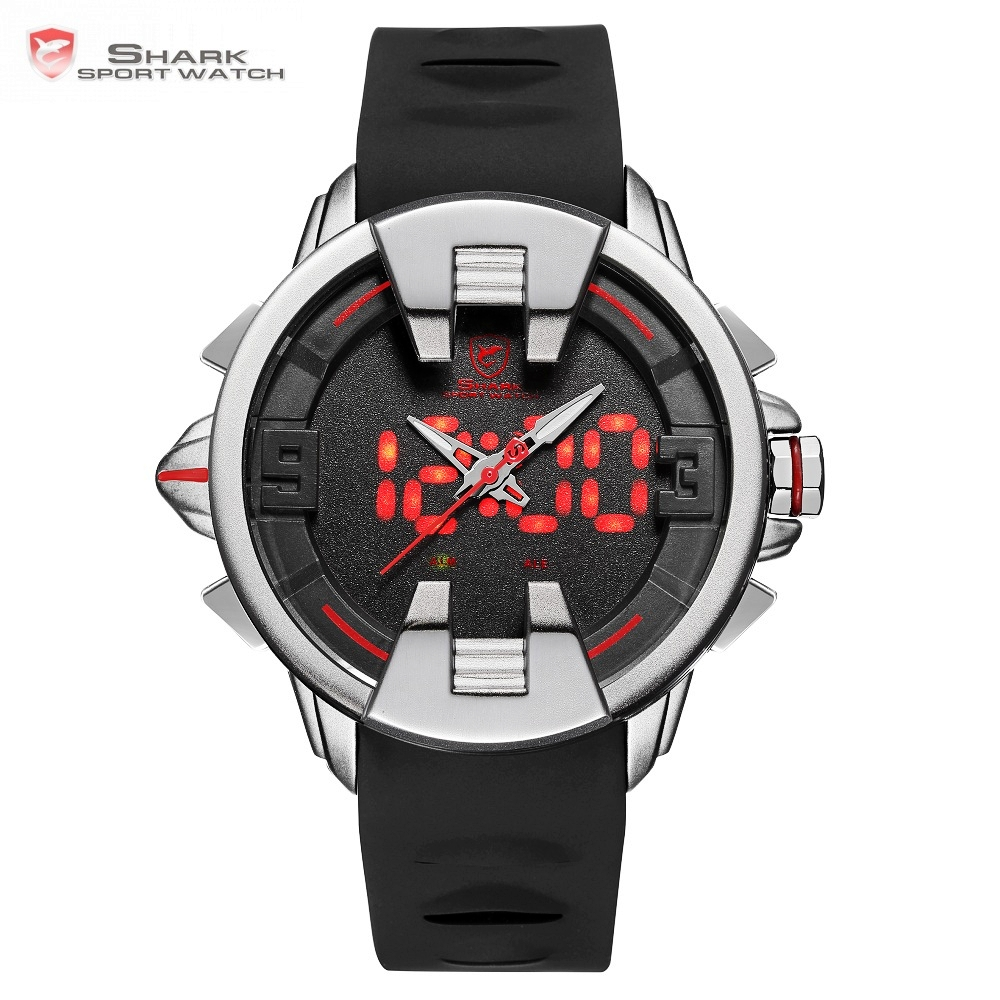 Wobbegong SHARK Sport Watch Black Silver New Design Digital Date LED Men's Quartz Silicone Band Geek Watches 3ATM Relogio /SH556