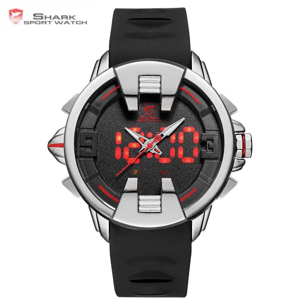 Wobbegong акула спортивные часы черного и серебристого цвета новый дизайн цифровой Дата светодиодный мужской кварцевый силиконовый ремешок оригинальные часы 3ATM Relogio/SH556