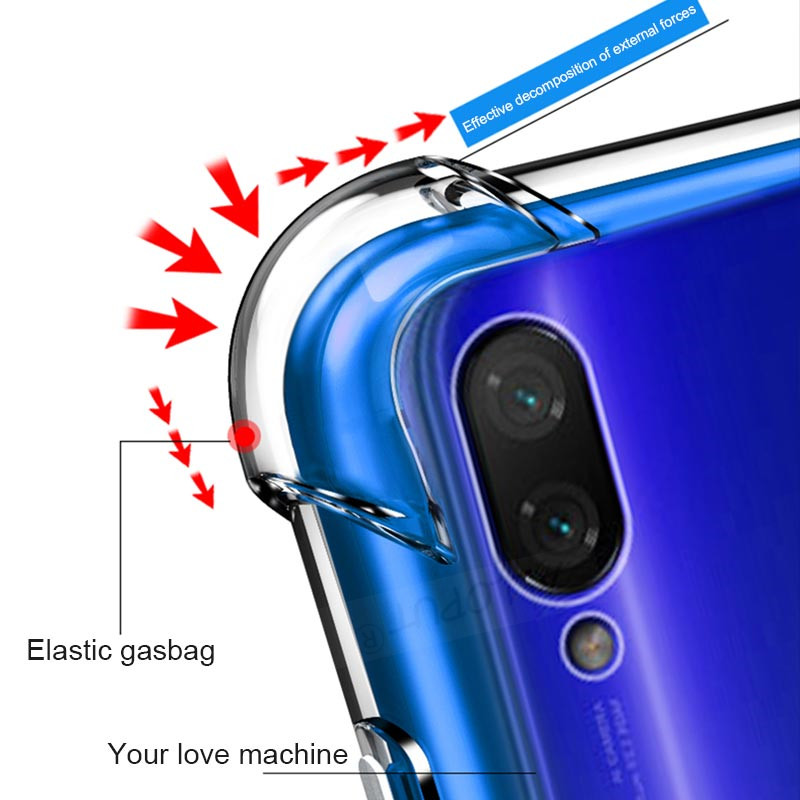 Phone Case For Redmi 7A Note 7 Case Transparent Clear TPU Cover Redmi 7 Note 7 Pro Case Xiaomi Redmi 7A Airbag silicone Rugged in Fitted Cases from Cellphones Telecommunications