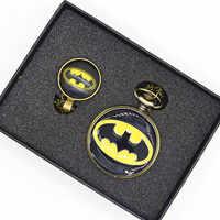 Batman Halskette Taschenuhr Männer Frauen Steampunk Kette Taschenuhren Vintage Römische Ziffer Quartz Fob Taschenuhr Uhr TPB041