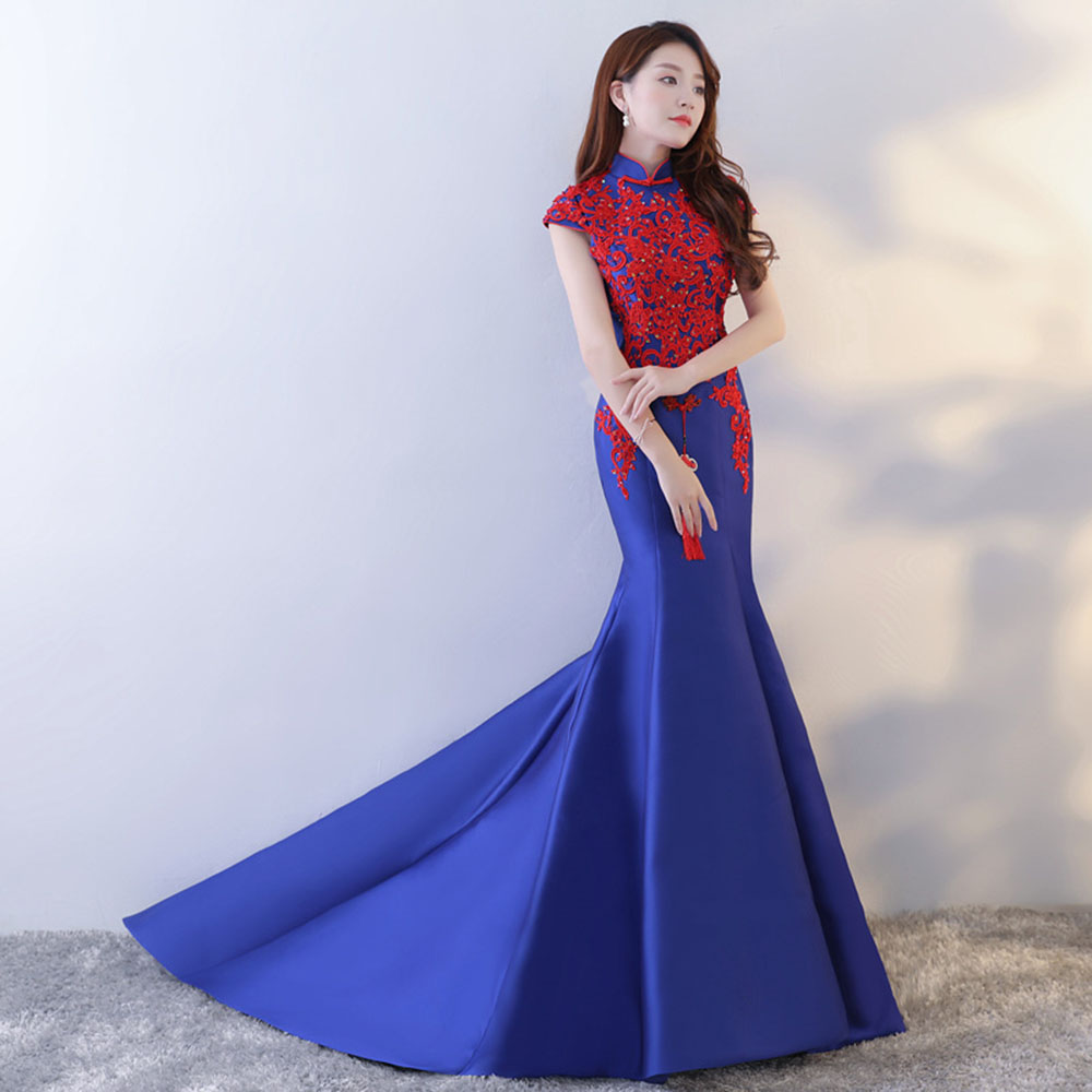 mandarim abendkleider lantejoulas fishtail vestido
