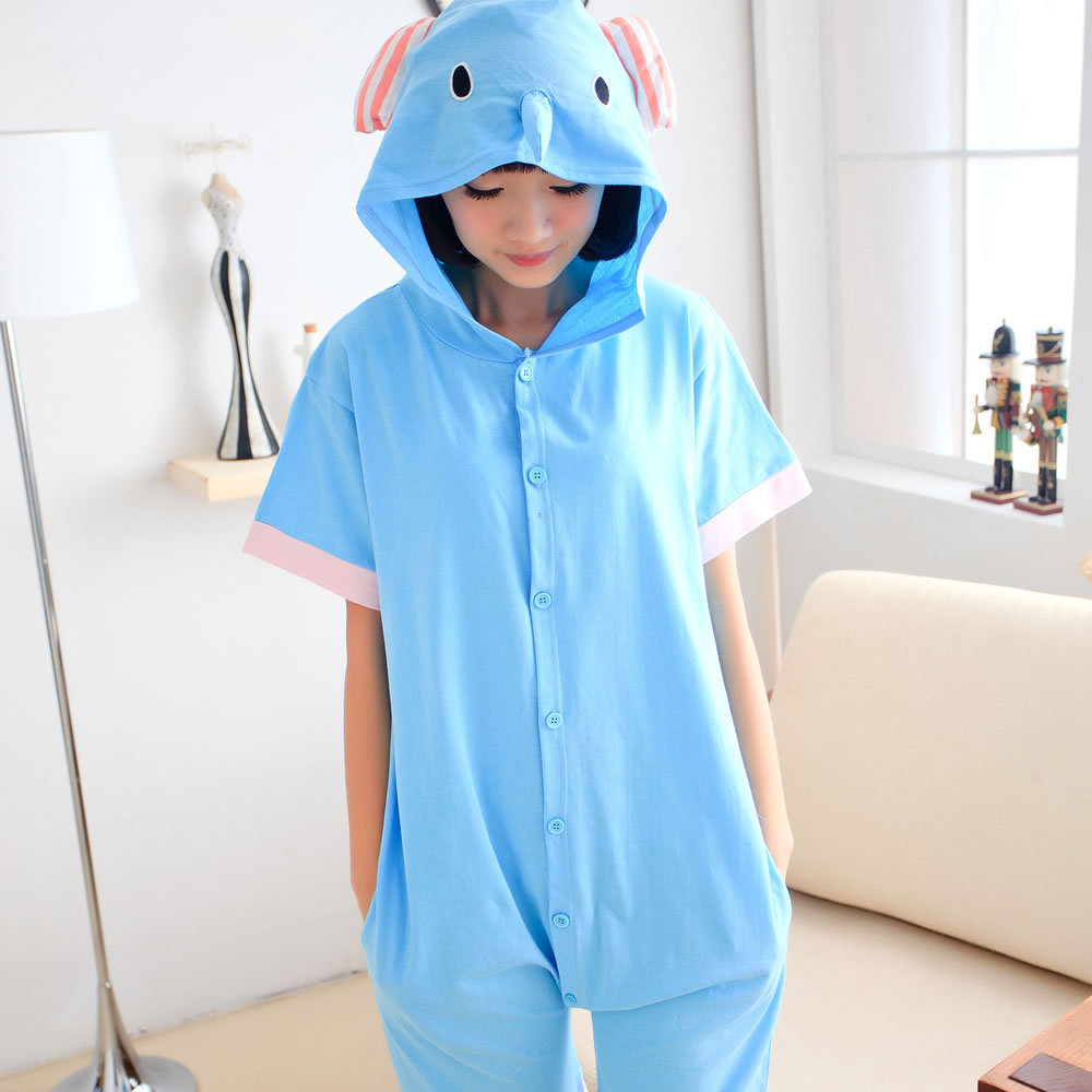 108a64cd4f Elephant Summer Short Pajama Set Women Men Adult Animal Pijama Cotton Onesie  Sleepwear Hoodie Halloween Holiday Party Costume