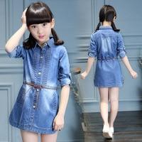 Nice Trendy Spring Patterns Baby Girl Blue Jeans Dresses Children Clothing Tshirt Style Kids Denim Girls