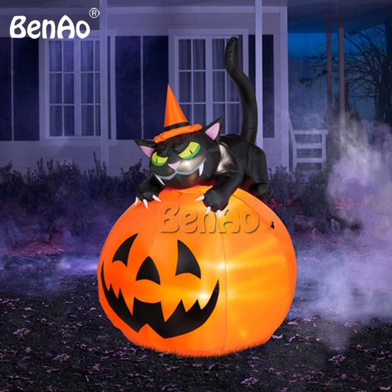 Zucca Halloween Gatto.Us 658 8 H019 3mh Gonfiabile Decorazione Della Zucca Di Halloween Con Gatto Nero Su Di Esso Ragno Con Luci Esterne Di Halloween Decorazione Da