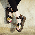 Летом Стиль Гладиатор Сандалии Платформы Повседневная Обувь Женская 2016 Кожа Толщиной Высокие Каблуки Летние Сандалии Женщин Клинья Обувь