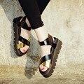 Estilo Gladiador verão Sandálias de Plataforma Sapatos Casuais 2016 Das Mulheres De Couro Grossas de Salto Alto Verão Das Sandálias Das Mulheres Cunhas Sapatos