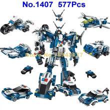 577 pçs 6in1 polícia a guerra generais robô carro avião moto barco iluminar bloco de construção brinquedo