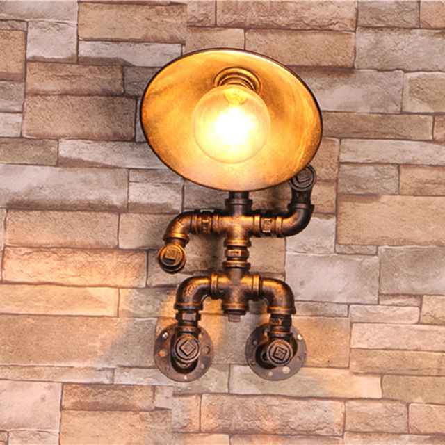 Water Pipe Lamp Bar Loft Wall Light Lamps Luxury Copper Color Bathroom Vintage Loft Industrial Retro Sconce Lamparas De Pared