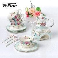 YeFine Flower Tea Set Porcelain Heat Resistant Glass Tea Pot Kettle Ceramic Coffee Cups And Saucers