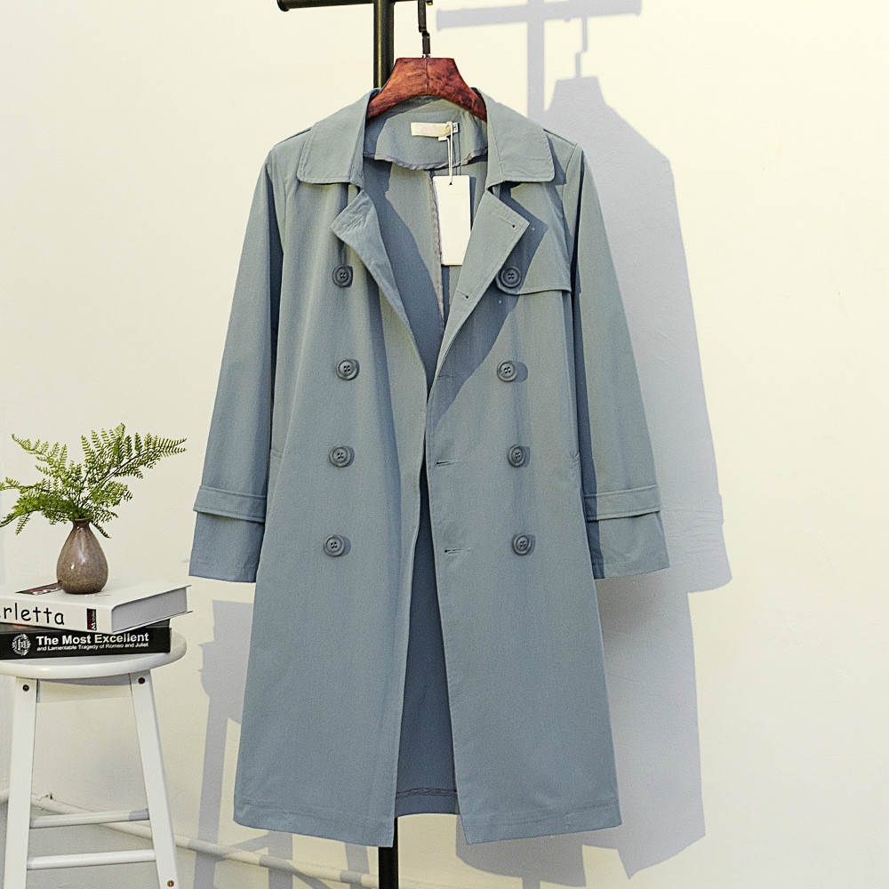 Girls Autumn Long Double Breasted Blue Overcoat Loose Casual OuterWear Women   Trench   Coat Plus Size 4xl 5xl Winter Windbreaker