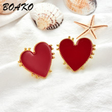 2019 New Red Heart Stud Earrings Fashion Jewelry Punk Exaggerated Big for Women Wedding Brincos Oorbellen Gifts
