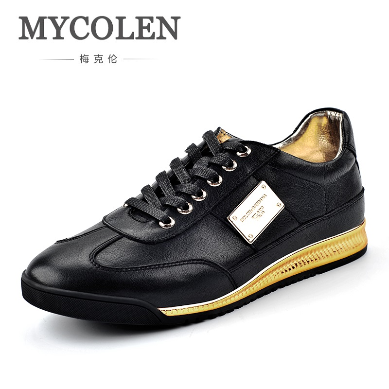 MYCOLEN Hot Sale 2018 Men Casual Leather Fashion Sports Shoes Tide Breathable Mens Shoes Black High Quality Luxury Brand Shoes flobaby леггинсы
