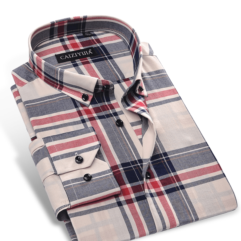 Mens long sleeve contrast bold plaid checkered dress for Dress shirt no pocket