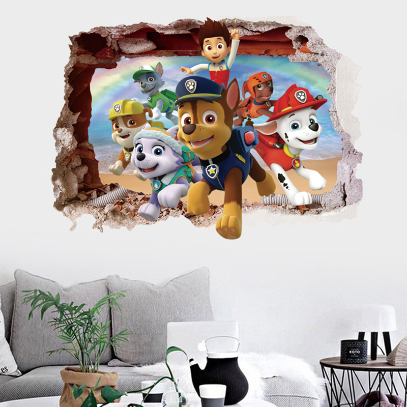 Paw Patrol Baby Wall Stickers Kids Room Decoration Sticker Toy PVC Action Figure 3D Wallpaper Toys Wall Sticker Children 2A50