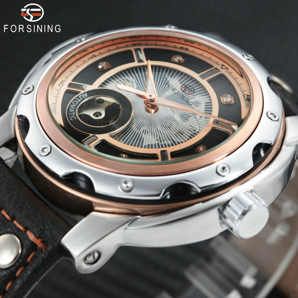 FORSINING Unique Fashion Automatic Men Watches Leather Band Luminous Hands Skeleton Dial Top Brand Luxury Mechanical Wrist Watch goer brand skeleton man automatic watch men s wrist square watch leather mechanical waterproof luminous digital