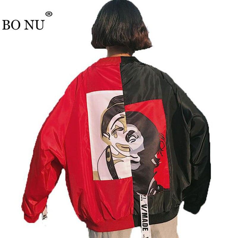 BONU 2018 women tops jacke Spliced Bomber Jacket Unisex BF Loose Jacket Lover Men Women Harajuku Oversize Female Basic Coats