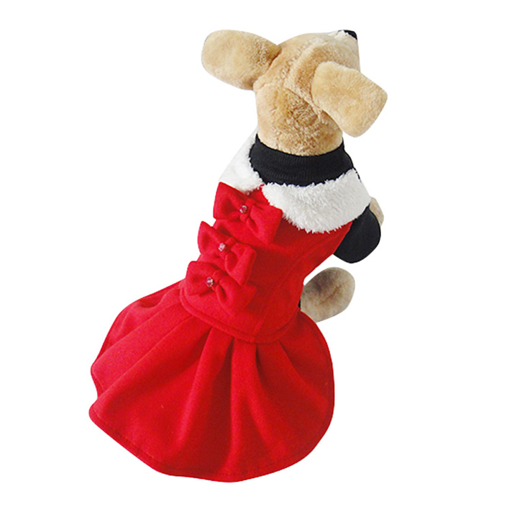 Winter dog christmas dress lovely red bow puppy dress dog clothes