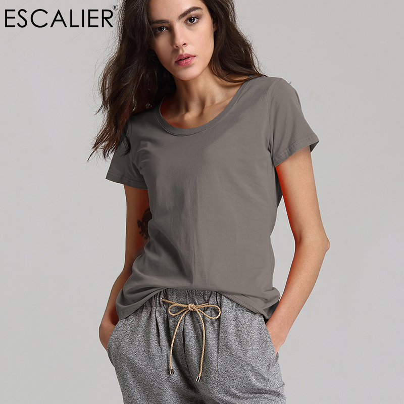 Escalier Women T-Shirt 2018 Hot Selling O-Neck Casual Short Sleeve  T- Shirts Women Cotton Elastic Basic  Summer Tops