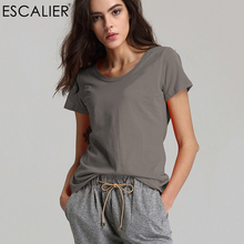 Escalier Women T-Shirt 2018 Hot selling O-Neck Casual Short Sleeve  T- shirts Cotton Elastic Basic Summer Tops