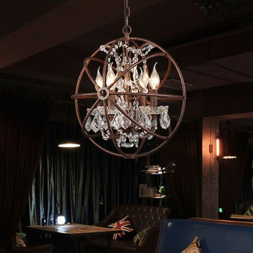 4 6 8 15 Candle lights Chandeliers E14 Lustres lights rusty vintage industrial loft iron crystal Chandelier