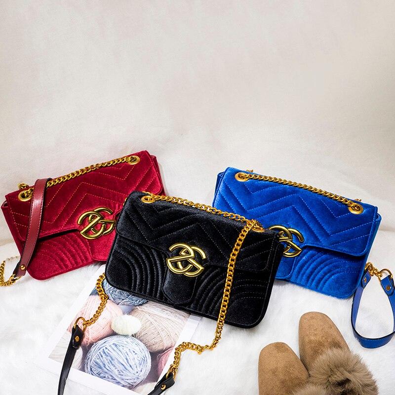 Brand Women Messenger Bags Luxury Handbags Women Bags Designer Velvet Fashion Shoulder B ...