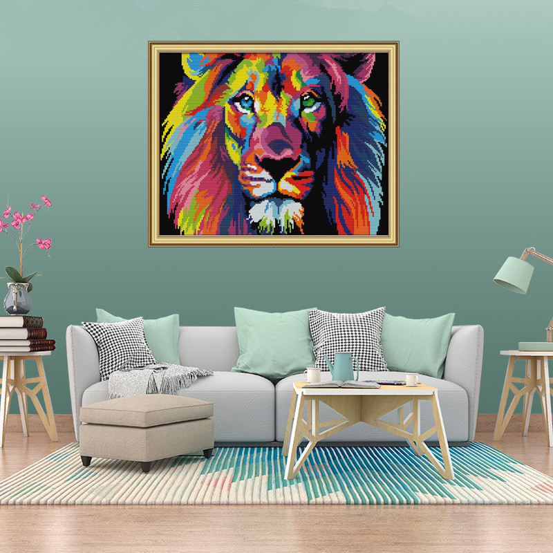 Joy sunday DA189 Coloured lion Counted Printed on Fabric DMC 14CT 11CT Cross Stitch kits Embroidery Needlework Sets Home Decor in Package from Home Garden