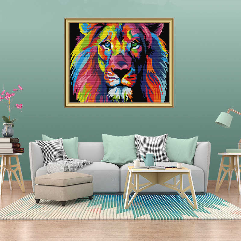 DIY Cross Stitch Kits Animal,Counted Cross Stitch Cats for Home Decoration Colourful Cat 11CT 50X41CM Cross Stitch Kits for Adults Stamped