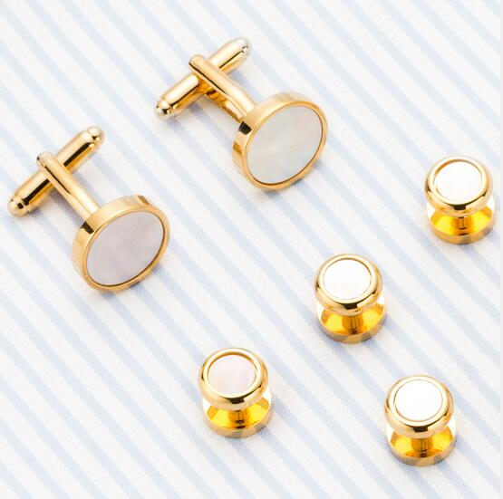 10sets/lot Luxury Cufflinks Tuxedo Studs Set 6pcs Set Golden Round Natural Sea Shell Cuff Link Studs Set Men's Jewelry Gift