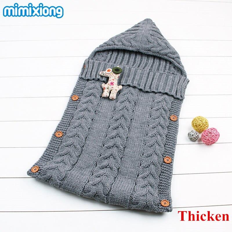 Baby Winter Stroller Sleep Sack 2017 Newborn Toddler Hoody <font><b>Sleeping</b></font> Bags Autumn Wrap Warm Knitted Envelope for Infant Boys Girls