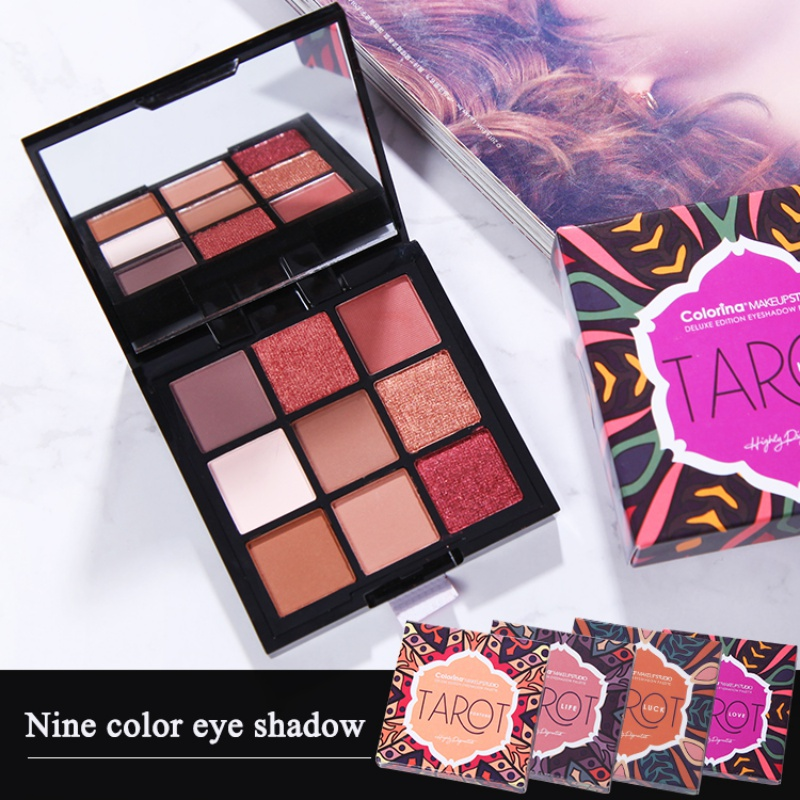 Shimmer Eye Shadow Makeup Palettes Waterproof Earth Warm Matte Powder For Party Wedding Makeup With Brush 9 Colors