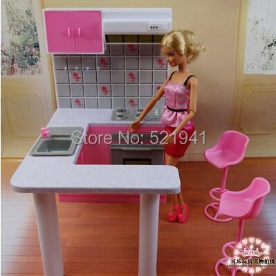 regalo di compleanno ragazza libera di plastica play set da cucina mobili accessori per barbie doll