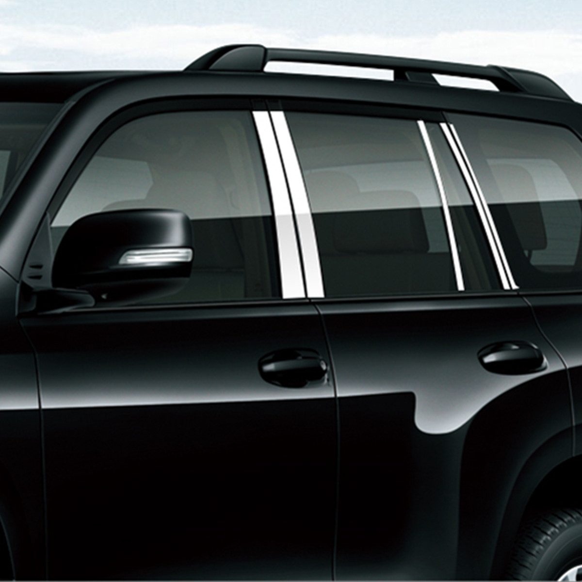Accessories 10PCS set Stainless Steel Window Column Strip for Toyota Land Cruiser Prado 120 2003 2004
