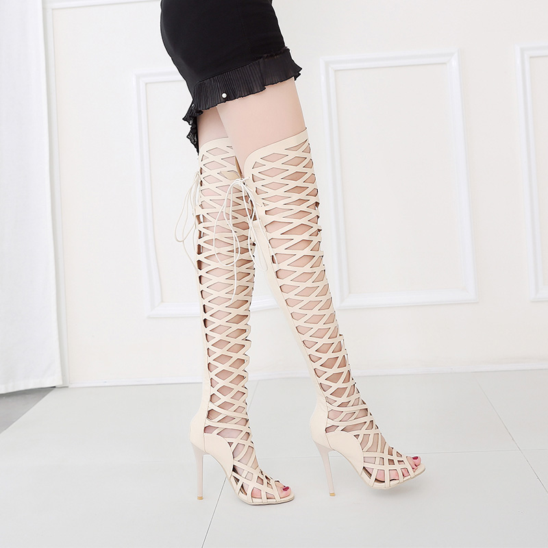 Lady Malla Las Toe Hueco Sexy Zapatos Sandalias Mujer Beige Larga black Peep De Femenina Cuero Tacones Mujeres apricot Delgada Botas Bota Rodilla Sobre Srq8YSw