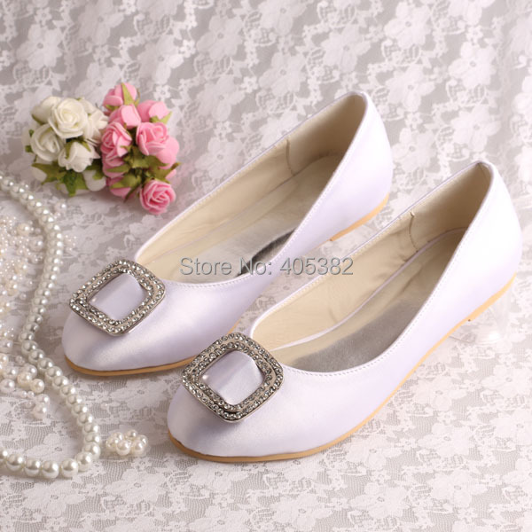 13 Colors)Closed Toe Ladies Fancy Flat Dress Wedding Shoes White ...