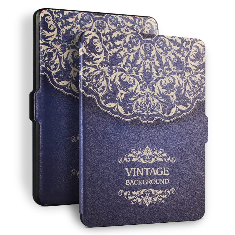 Hot Sale High Quality Flip PU Leather Flower Painted E book Tablet Case for Kindle Paperwhite