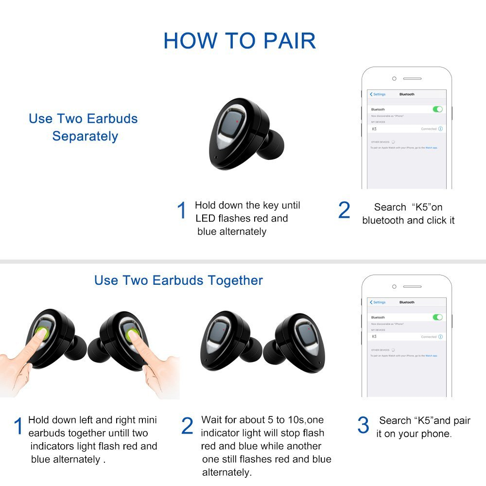 Clearance!!! K2S/K5/K5S TWS Bluetooth Earphone Dual In-ear Wireless Earbuds with Charging Box for Mobile Phones 5