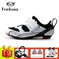 Tiebao ciclismo sapatos estrada ciclismo triathlon tênis mulher respirável pedais de bicicleta auto-bloqueio sapatos de estrada