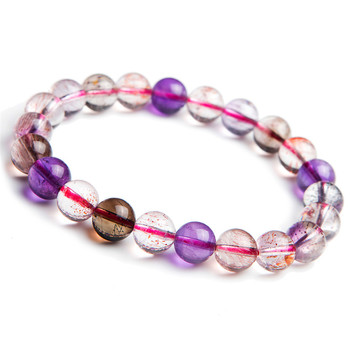 Free Shipping 9mm Natural Melody Stone Super Seven Colorful Transparent Round Clear Stretch Crystal Beads Bracelet