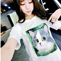 M-2XL Fashion Autumn Short Sleeve Women T Shirt Cat Pattern Poleras Mujer Women Tops T-Shirt Femme TS34