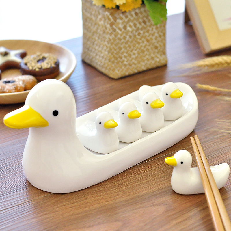 1set Hand Painted Cute Ceramic Duck Chopsticks Holder