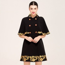Vintage Cloak New 2017 Women Autumn Fashion Elegant Color Patchwork Bat Sleevee Double-Breasted Beading Long Black Coat(China)