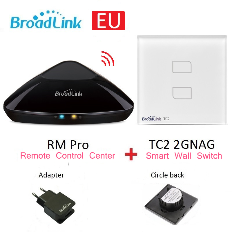 Broadlink RM Pro Universal wireless remote controller+TC2 EU 2gang Wall Switch Smart home Automation by smart phone IOS Android