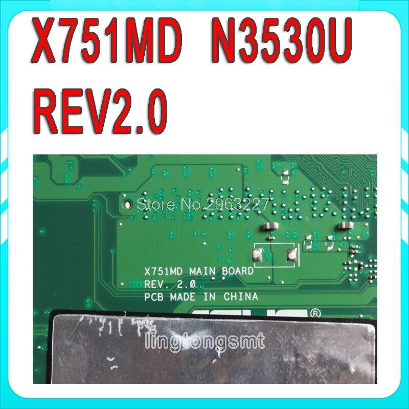 For ASUS k751M X751MD R752M R752MD Quad core N3530 Motherboard GT820M Mainboard