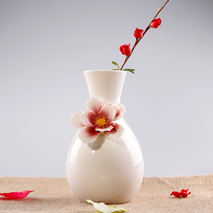 Ceramic White Glazed Pots Flowers Vase Designs Home Decor Crafts Room Decoration Ceramic Garden