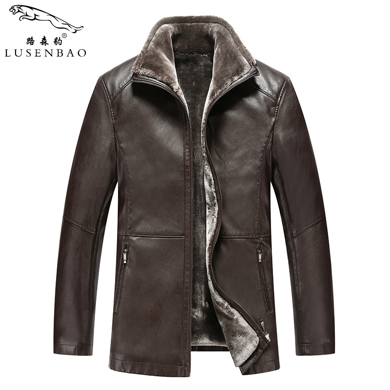 2018 winter fur trade leather OVERCOAT men middle-aged mens leather jacket plus thick velvet leather jackets