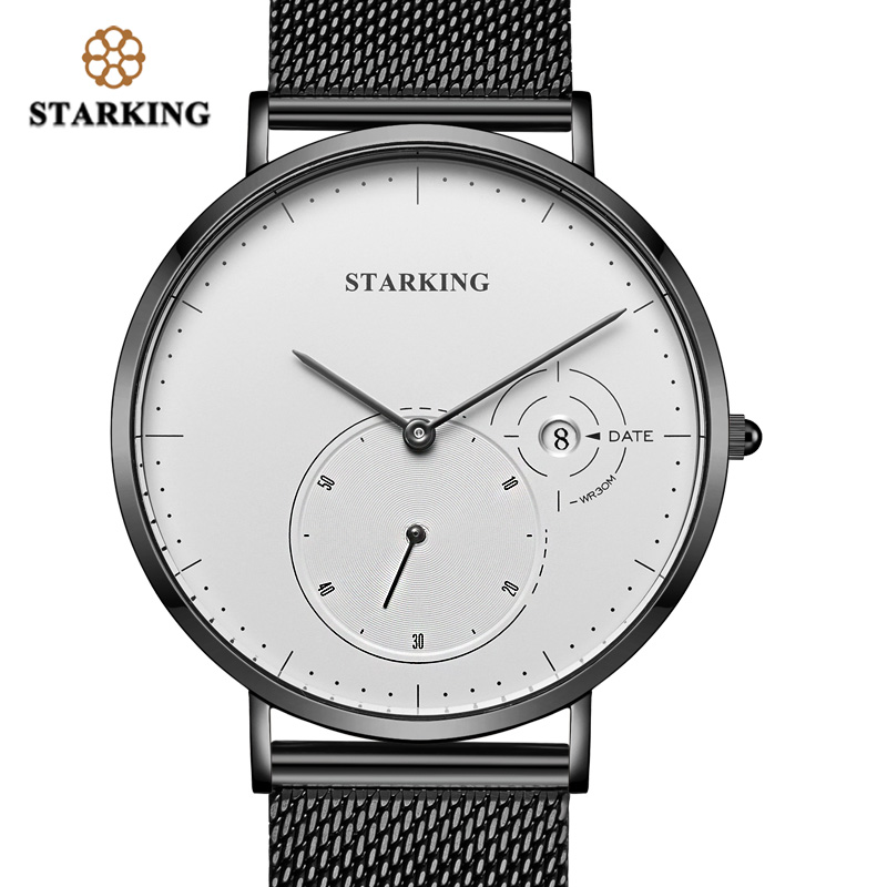 STARKING Creative Watches Men Steel Stainless Black Mesh Band Watch Female Quartz Wrist Watches With Auto Date Display Relogios stylish 8 led blue light digit stainless steel bracelet wrist watch black 1 cr2016