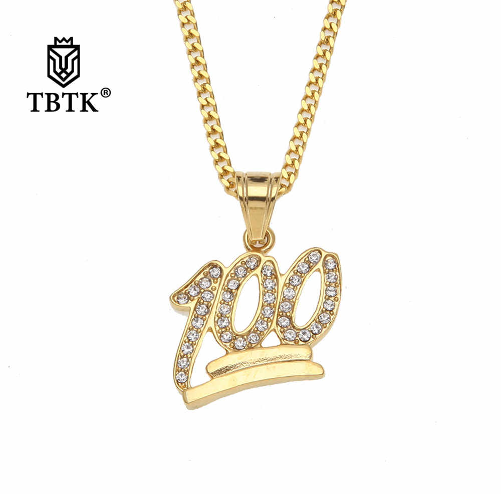 TBTK One Hundred Score Pendant Necklace Luxury Trendy Jewelry Paved Bling Crystal Rhinestone Pendant Punk Style Hiphop Jewelry