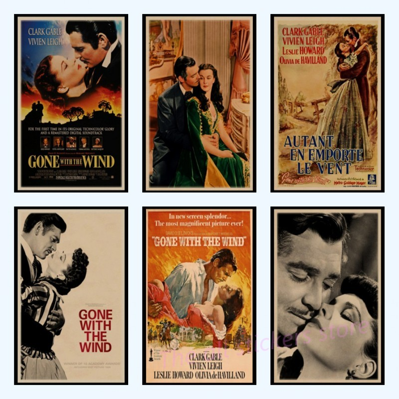 Gone with the Wind Vintage Kraft Paper Movie Poster Home Decoration Wall Decals Art Removable Classic Retro Poster Wall Stickers image