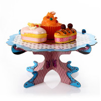 1Tier Wedding Birthday Cardboard Cupcake Paper Stand Plates Party Muffin Blue Color Cake Holder Lunch Tea