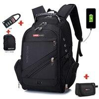BAIJIAWEI Men External USB Charging Laptop Backpacks Anti theft Bags Waterproof Travel Backpack with Lock & Raincover